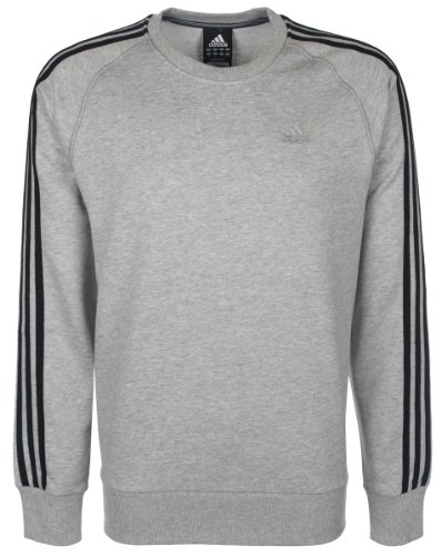 Adidas Mens Climalite 3 Stripe Crew Neck Sweatshirt - Grey - Medium
