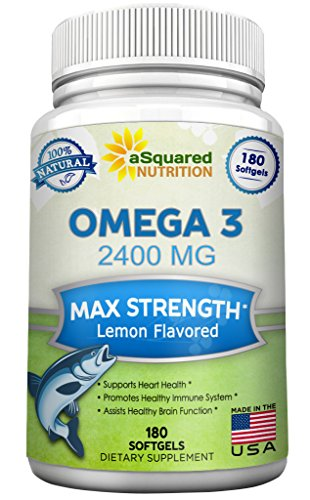 Pure Omega 3 Fish Oil Supplement (180 Softgels Lemon Flavor) 2400mg Max Strength, High Potency EPA & DHA, Natural Omega-3 Fatty Acids, Burpless Liquid Capsule Pills for Brain Joints Eyes Heart Health (Omega 3 Fish Oil 300 Epa 200 Dha compare prices)