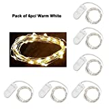 Pack of 6 LED Moon Lights 20 Micro Starry LEDs on Copper Extra Thin Silver Wire  2 x CR2032 Batteries Required and Included  3.5 Ft (1m) for DIY Wedding Centerpiece or Table Decorations (Warm White)