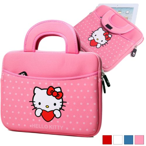 Hello-Kitty-Themed-Apple-iPad-10-Tablet-Sleeve-with-Handles-in-Pink-Neoprene-Water-Resistant-Dual-YKK-Zippers-Outer-Pocket-Soft-Plush-Inner-Lining