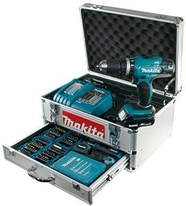 Makita BHP453RHEX5 Akku-Schlagbohrschrauber im Alukoffer inkl. 96-tlg. Zubehörset, 2 Akkus und Ladegerät