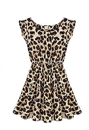 Demarkt Sexy Robe en Col Ronde pour les Femmes avec Couleur Leopard/Taille S/M/L (L)