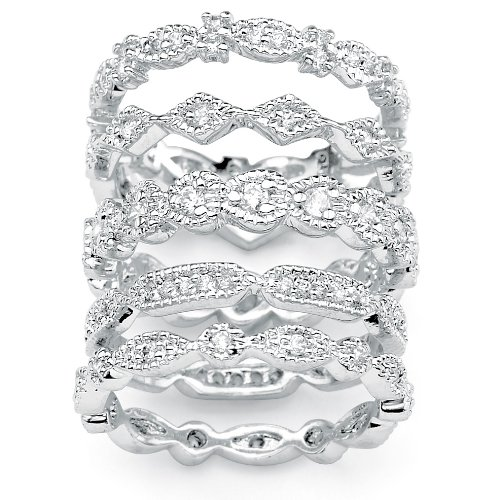 PalmBeach Jewelry Silver Tone Set of Five DiamonUltraTM Cubic Zirconia Stackable Eternity Rings