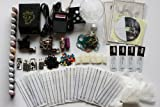 Deluxe Tattoo Kit 2 Machine Gun Power Supply Needles 11 Inks (Double Black Inks) K03