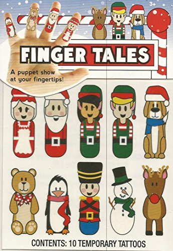 FINGER TALES : A CHRISTMAS PUPPET SHOW AT YOUR FINGERTIPS ; 10 PUPPET TEMPORARY TATTOOS BY MZB - 1