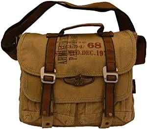 Military Vintage Classic Canvas Messenger Bag Army Messenger Heavy Weight Shoulder Bag