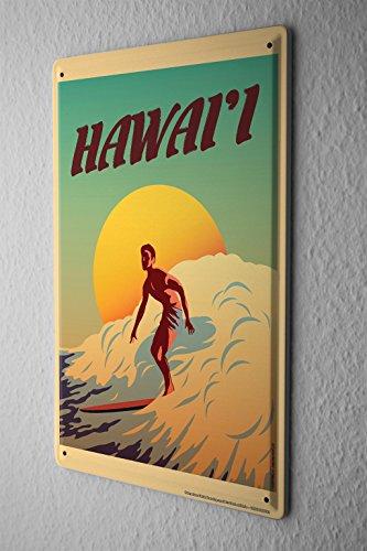 Nostalgique Plaque Émaillée Platine Murale Surfer planche de surf à Hawaii soleil Paroi Métallique Signes 20X30 cm