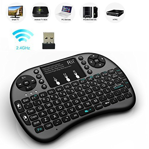 Updated-2015With-BacklitRii-i8-24GHz-Mini-Wireless-KODI-XBMC-Keyboard-with-Touchpad-Mouse-LED-Backlit-Rechargable-Li-ion-Battery-Soft-Silicone-button-Raspberry-Pi-2-MacOSLinux-HTPC-IPTV-Google-Android