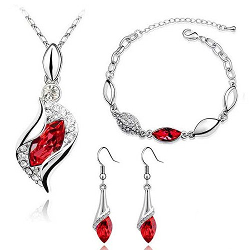 HSG Fashion Red Color Necklace Earring Bracelets Jewelry Set for Women (Earrings And Bracelet Set)
