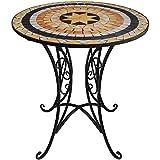 Runder Mosaik Tisch Ø70cm Mosaiktisch Bistrotisch Beistelltisch Gartentisch Balkontisch Terrassentisch