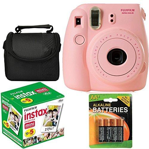 Fujifilm Instax Mini 8 Instant Film Camera (Pink) With Fujifilm Instax Mini 5 Pack Instant Film (50 Shots) + Compact Bag Case + Batteries Top Kit (Import No us Warranty)