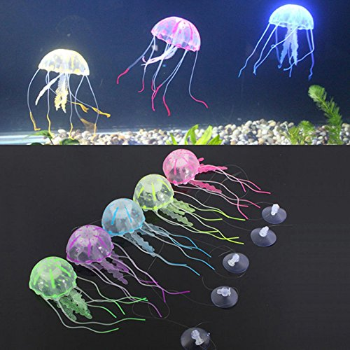 5 x Jelly Fish Aquarium Silicone Artificial Decorations Fish Tank Ornament (Jelly Fish Food compare prices)