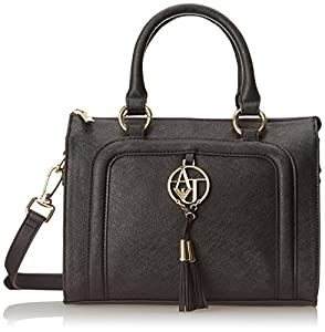 Armani Jeans A3 Eco Saffiano Satchel with Ecoleather Top Handle Bag, Black, One Size