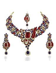 Vivaah Collection Attractive CZ Designer Red Blue Necklace Set 20003-06