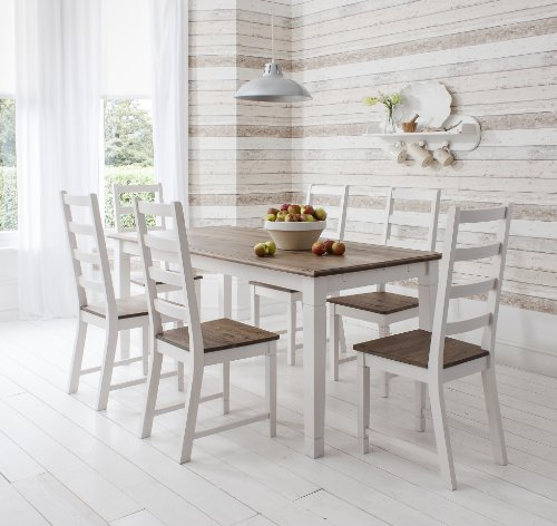 Table and 6 Chairs Canterbury Dining Table in Contemporary Dark Pine and White