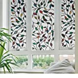 Static Window Films Cane Leaves 3 Meter PVC Films Glas Sticker Non-glue Fork Art Glass Poster(1PC)
