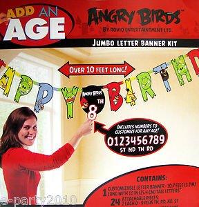 Imagen de Angry Birds Birthday Party Jumbo Carta Banner Personalizable Más de 10 cartas pies de largo 10 pulgadas de altura Kit