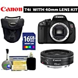 Canon T4i Body with 40mm Lens Bundle + Case + 16GB Class 10 Memory Card + 5 Piece Accessory Kit