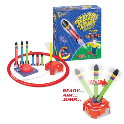 Geospace Jump Rocket Deluxe Set with Adjustable Launcher, Target and 3+3 Rockets