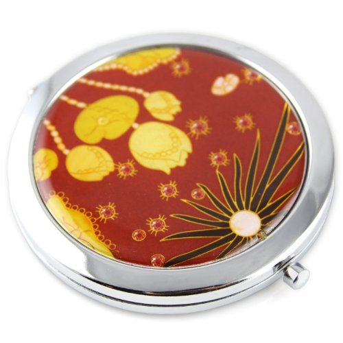 Sun Lotus Gel Inlay - Steel Compact Pocket Mirror With Regular And Magnify Dual Sided Mirror - Red
