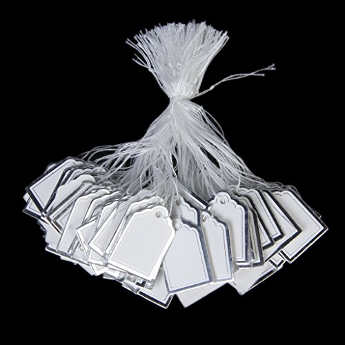 500PCs Watch Bracelet White Silver Number Jewelry Watch Display Merchandise Price Tags Label Tie String Strung Label Tie String Strung (White Strung Merchandise Tags compare prices)