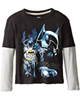 Extreme Concepts Little Boys' Batman Raglan Long Sleeve Tee with Pewter Sleeves