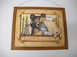 Bear necessities wooden country bathroom wall for Bathroom paintings amazon