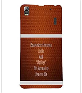PrintDhaba Quote D-1325 Back Case Cover for LENOVO A7000 (Multi-Coloured)