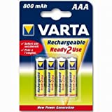 Varta Power Accu AAA 4 Pack - 800 mAh Ready2Use Rechargeable Batteries
