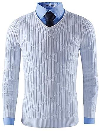 Tom's Ware Mens Casual Slim Fit Diamond V-neck Knit Sweater TWCMT8915-WHITE-XXL (US XL)