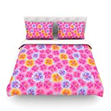 "Kess InHouse Julia Grifol ""My Pink Garden"" King Cotton Duvet Cover, 104 by 88-Inch"