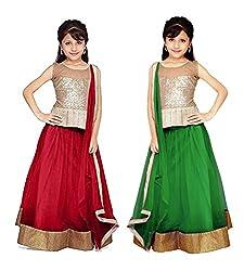 Purva Art Red & Green Net Kid's Lehengha Choli