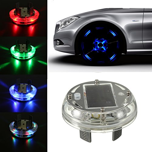 AUDEW 1Pcs Car Auto 4 Colours 12 LED Solar Energy Flash Wheel Light Tire Lamp Decoration Light (Car Tires Lights compare prices)