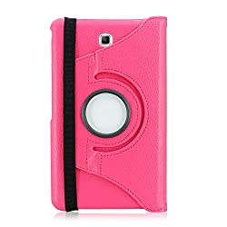 Gearonic TM 360 Rotating PU Leather Stand Case Cover for Samsung Galaxy Tab 4 7-Inch T230, Hot Pink (AV10101-HPink-Tab4)