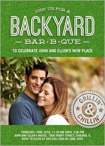 Backyard BBQ Summer Invitation Green 5X7 Flat Card