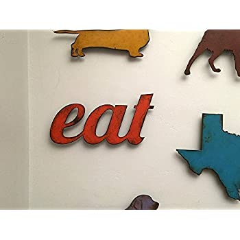 11 inch long eat metal wall art word - Handmade - Choose your patina color