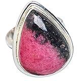 Rhodonite, Thodonite Argent Sterling 925 Bague 8.75