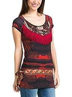 Desigual Camiseta Manga Corta Meritxell (Rojo / Gris)
