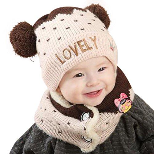 FEITONG bambino ragazzi ragazze infantile della giuntura stampa sciarpa cappello cappelli con set (Caffè)