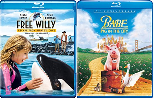 Babe: Pig in the City & Free Willy Escape from Pirate's Cove Blu Ray 2 Movie Combo Family animal kid fun set