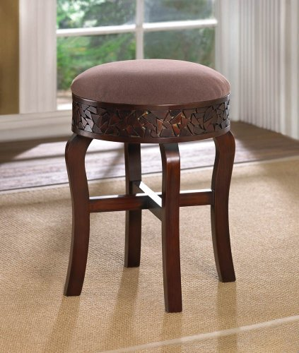 Padded Seat Cushion Small Round Brown Wood Chair Bench Makeup Table Vanity Stool