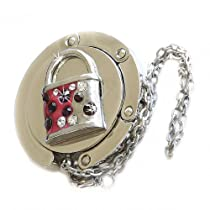 Small Goby 3D Rhinestone Lock Metal Folding Purse Hanger Table Bag Hook with FREE Gift Box, Red/Silver, One Size