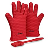 Miusco Heat Resistant Kitchen Silicone Gloves, Basting Brush Set, Red