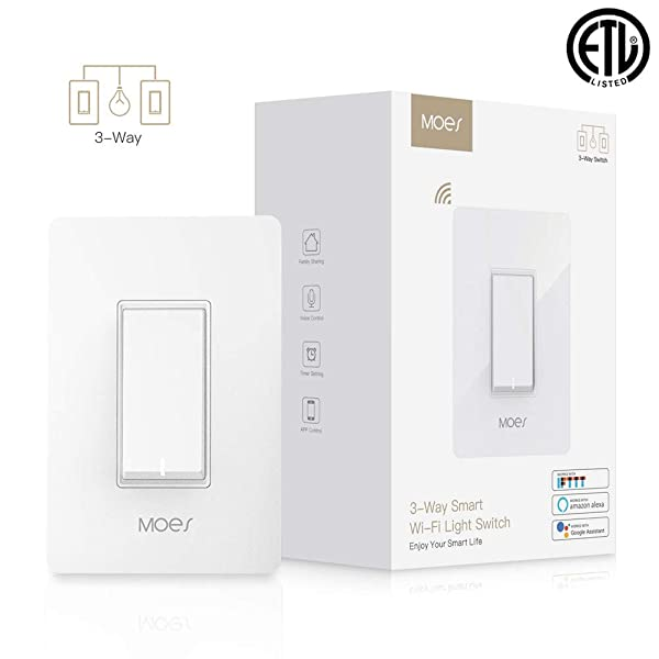 MOES 3-Way WiFi Smart Switch for Light Fan,Compatible with Alexa and Google Home,No Hub Required,Smart Life APP Provides Control from Anywhere (Color: White, Tamaño: MOES 3-Way Smart Switch (1 Pack))