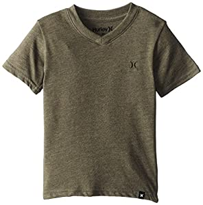 Hurley Little Boys' Icon Premium V Toddler Tee, Cargo Khaki Heather, 2T