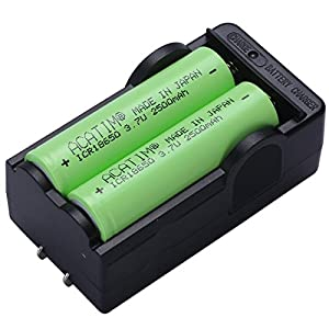[Made In Japan] 2Pcs Acatim ICR 18650 Rechargeable batteries with charger in waterproof box , 2500mAh 3.7V