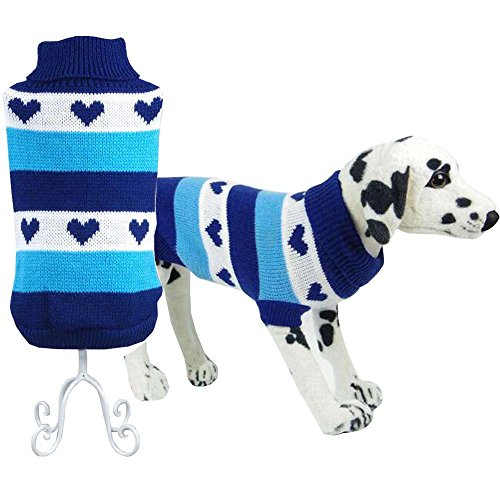 Bolbove Pet Heart Design Turtleneck Sweater for Small Dogs & Cats Knitwear Cold Weather Outfit (Blue, (Cats In Outfits)