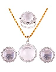 Mariya Impex Classic Collection Silver Pendant Necklace Set For Women - B00YHWMXHK