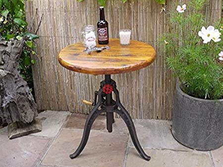 Industrial Adjustable Cast Iron & Oak Bistro Cafe Bar Breakfast Dining Table