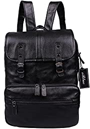 Iblue Full-grain Vintage Cow Leather for 15.6 Inch Laptop Computer Backpack Black#89093